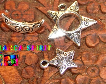 "Set of 3 Sets clasps Toggles Americans ""Star-Moon"" inscribed alloy Tibetan color obsolete money"