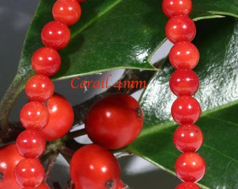 30 orange NONTEINTE 4mm genuine red coral beads