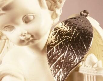 bronze 10 wavy leaf charms 31x16mm