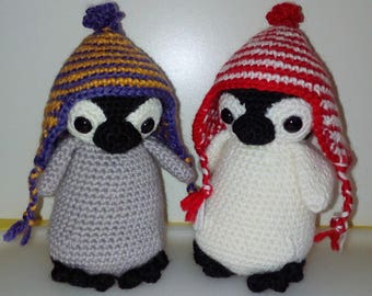 Small Penguin amigurumi striped wool bonnet woolly