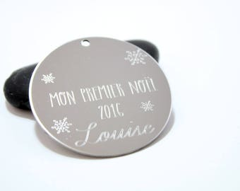 Pendant 50mm round stainless steel + engraving