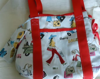 """COLLECTION """"SHOPPING"""" BAG FULLY LINED IN RED ALONG WITH ITS MATCHING POUCH"""