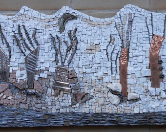 """Table wall mosaic """"Moonscape"""" - marble - metal - Vosges grateful - slate"""