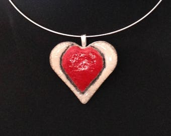 Necklace pendant ceramic raku red and white heart