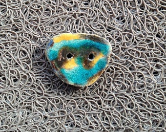 Button raku ceramic - golden yellow turquoise - 2 holes for textile or any other item (5)