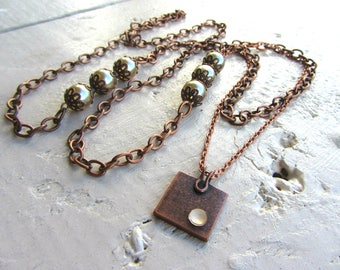 retro, baroque pendant necklace, chain copper metal, pearls and square with Rhinestones - Locket set