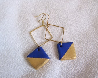 elegant and minimalist Earrings: gold tone diamond and bright blue and gold polymer clay