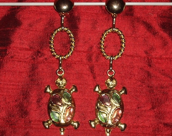 Turtle gold vintage clip earrings