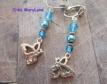 Clip earrings for pierced blue butterfly