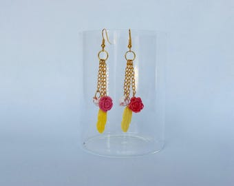 Pink and Golden feather earrings