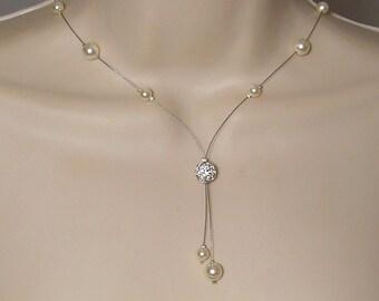 Bridal Swarovski Pearl rhinestone ivory - Glamour Collection - Marina necklace - wedding party