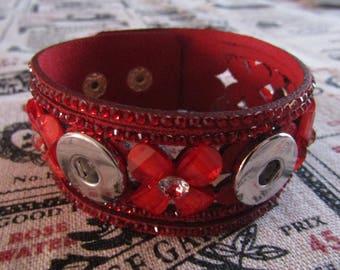 bracelet for 3pressions 18mm / 20mm diameter red flower and rhinestones