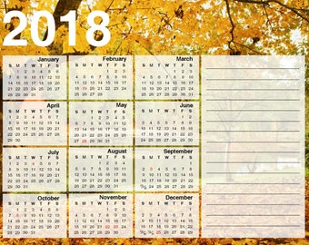 2018 Year at a Glance Printable PDF Calendar