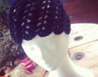 Vintage Black Cloche hat crochet