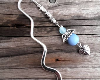 Silver charm bookmark Angel and blue beads