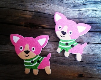 set of 2 buttons depicting dogs Chihuahuas pink 29 x 27 mm