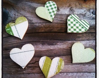 Set of 6 fabric covered wooden hearts a green pattern, 2.5 cm to stick.