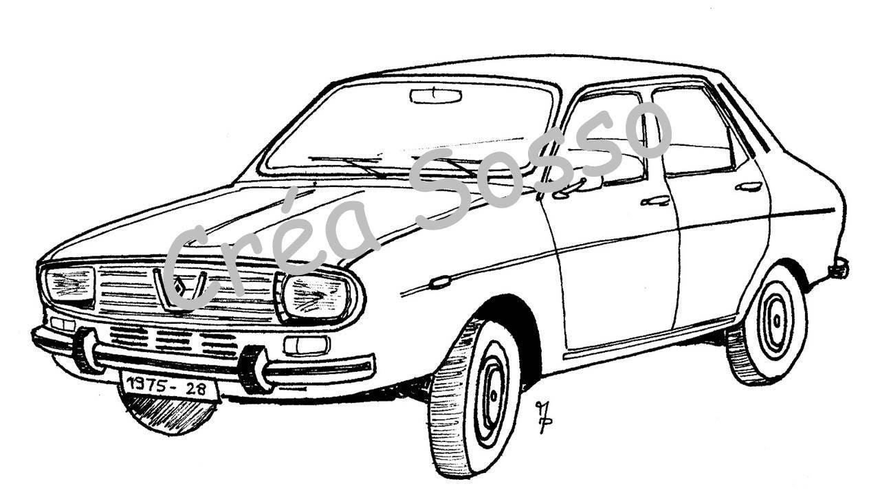 Porte cl s dessin voiture ancienne renault 12 - Modele dessin voiture ...