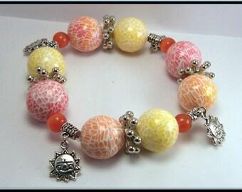 Bracelet élastique perle mozaïque en fimo