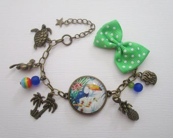"""Tropical"" bracelet, bronze cabochon, costume jewelry"