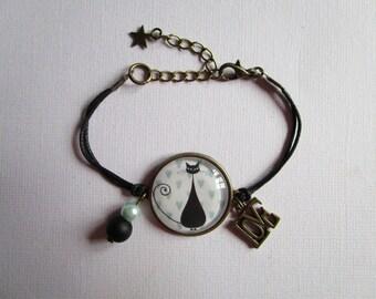 """Le Chat"", bronze cabochon, costume jewelry bracelet"
