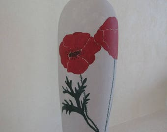 Free shipping! Handpainted poppies pattern vase