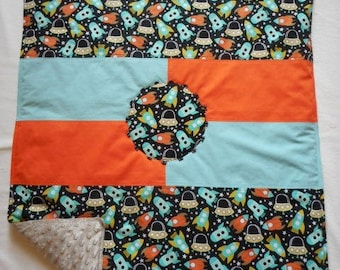 """COVER in cotton printed """"rockets and flying saucers"""" United, cotton and fully lined minkee"""