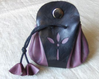 Coin purse is purple leather - black handmade