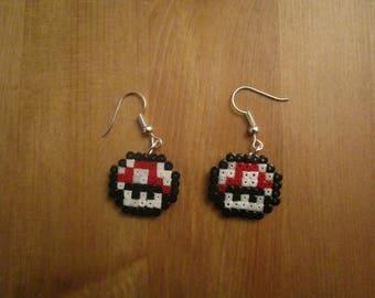 Pixel Art/beading - {Mario} - Super mushroom earrings