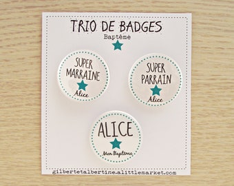 Trio sponsor 3.8 cm badges / name