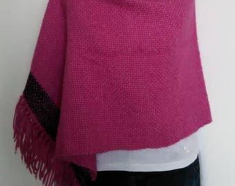 Fuchsia alpaca wool poncho Handmade fabric to the frame