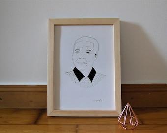 Nelson Mandela black-and-white illustration A4