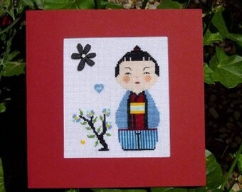 Hand embroidered card: Mr Kokeshi and his black flower