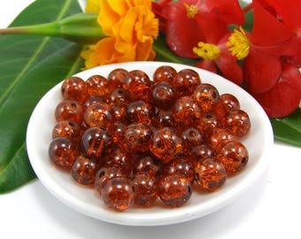 Set of 10 beads 8 mm cracked glass orange
