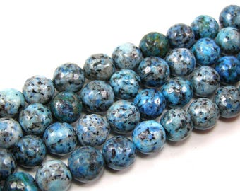 Pearl agate faceted 10 mm blue set of 4