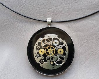 Choker + round large size Steampunk watch parts pendant