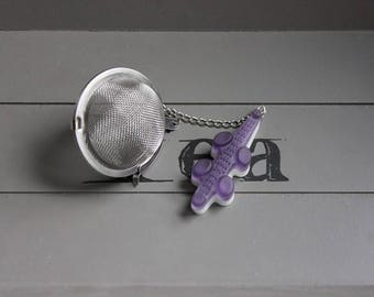 Tea Infuser tea, stainless steel, purple and white resin alligator candy ball