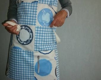 Apron patchwork blue gingham and plates