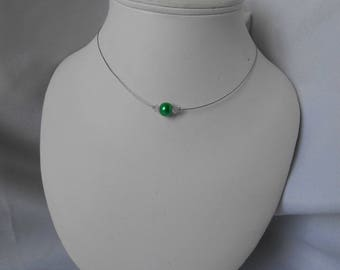 Classic necklace with Green Pearl and Swarovski pearls