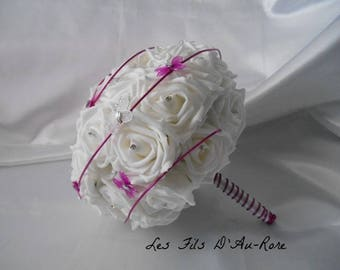"Wedding bouquet ""SUZANNE"" white & fuchsia"