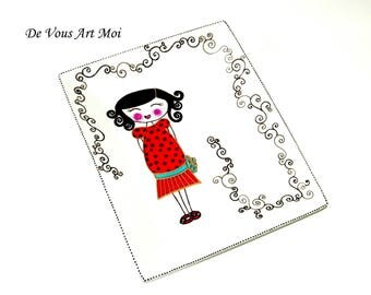 """Empty Pocket/small flat rectangle collection """"Pretty kid"""" porcelain hand painted"""