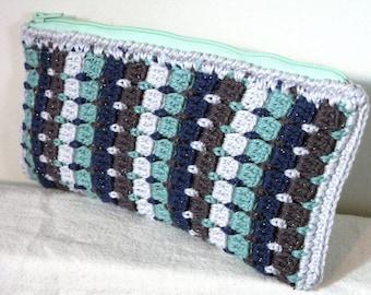 Multicolor glitter pouch crocheted