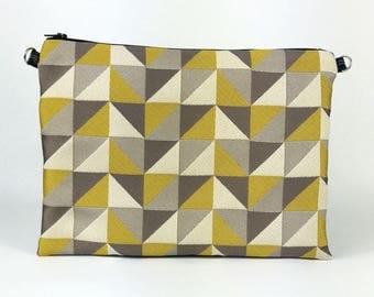 Yellow geometric pattern jacquard pouch