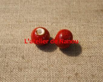 handmade 12mm red ceramic bead