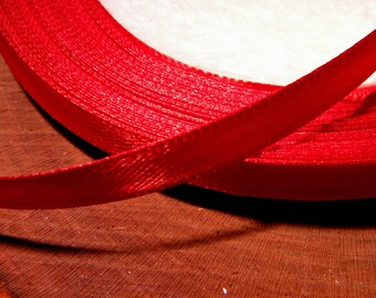 22 M 6 mm satin ribbon in spool of 22 - fa3 - bright red