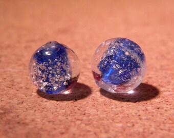 3 10 mm - dark glass lampwork beads - blue-PF35