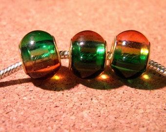 2 bead charm European - glass 2-tones - 15 x 12 mm - Green orange D86 1