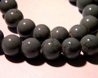 50 glass speckled marble - beads 8 mm - grey-glass beads - 9 G256