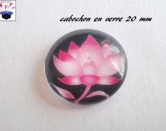 1 cabochon clear 20mm flower theme