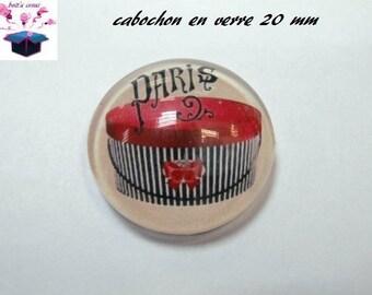 1 cabochon clear 20mm Paris fashion theme